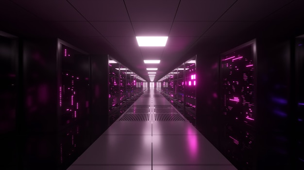 Digitale datenübertragung zu datenservern hinter glasscheiben in einem serverraum eines rechenzentrums. digitale hochgeschwindigkeitsleitungen. 3d-darstellung