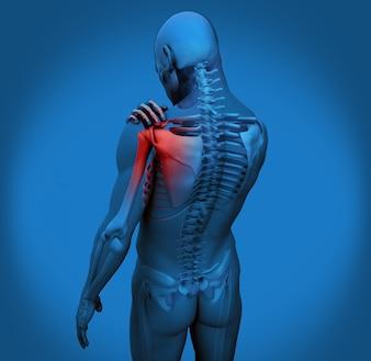 Digitale Figur mit Schulterschmerzen in Blau