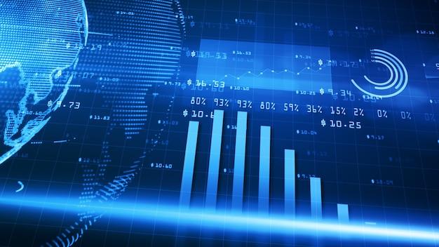 Digitale finanzdiagramme mit trends bei finanzinvestitionen