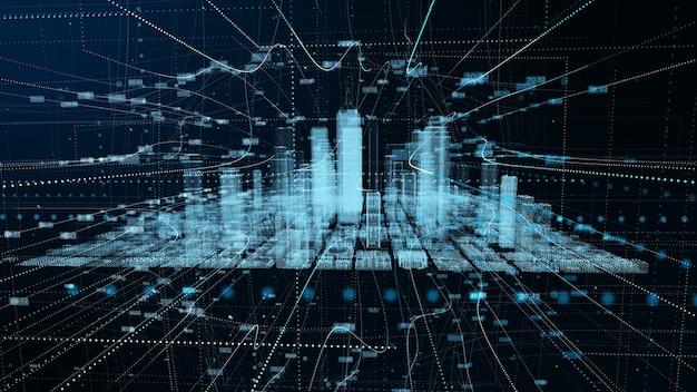 Digitale futuristische netzwerkverbindung für großstadtdaten. 3d-rendering-technologie-konzept.
