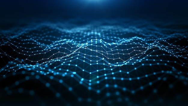 Digitale futuristische partikelwelle im cyberspace, die mit linien und punkten fliesst