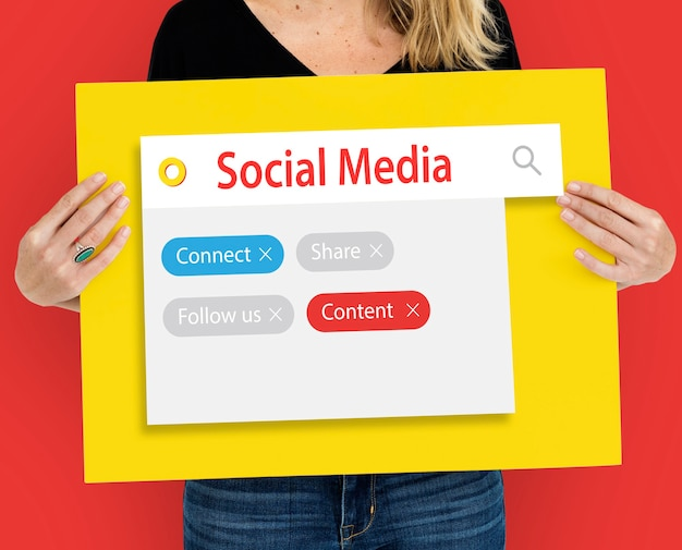 Digitale kommunikation social media grafische wörter icons