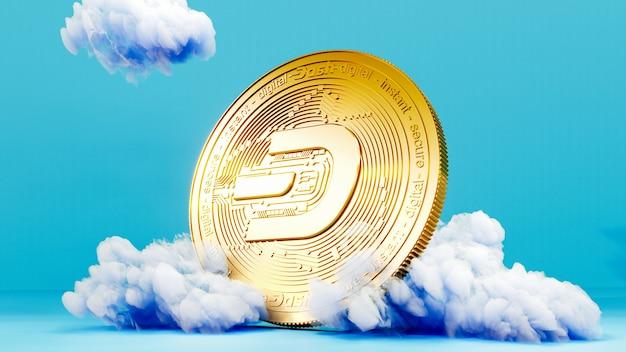 Digitale kunst des dash-logo-symbols. cryptocurrency coin dash auf der cloud 3d illustration. krypto-hintergrund.