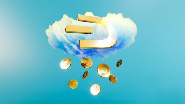 Digitale kunst des dash-logo-symbols. regen der kryptowährungsmünze dash 3d illustration. krypto-hintergrund.