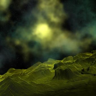 Digitale landschaft 3d mit nebelfleckraum-himmelhintergrund