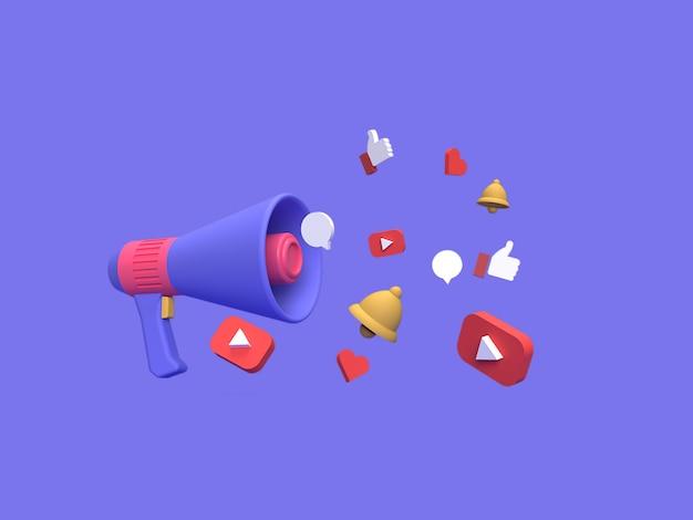 Digitale marketingkampagne 3d youtube mit blauem hintergrund gerendert