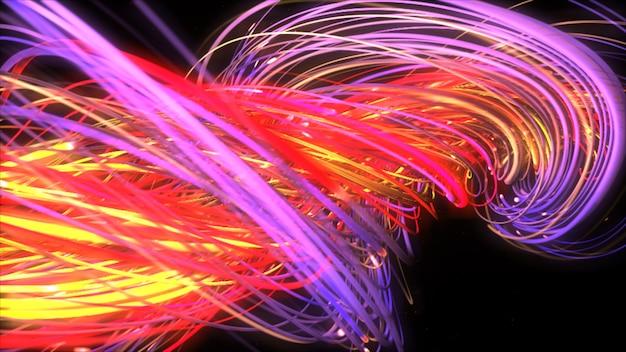 Digitale neonfarbene mehrfarbige saiten, die sich verdrehen