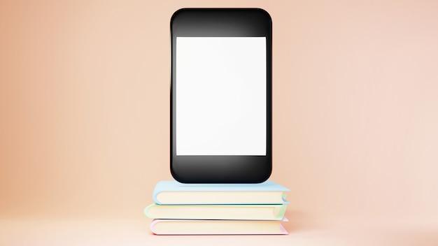 Digitale online-bildung. 3d des handys und bücher über das lernen am telefon.