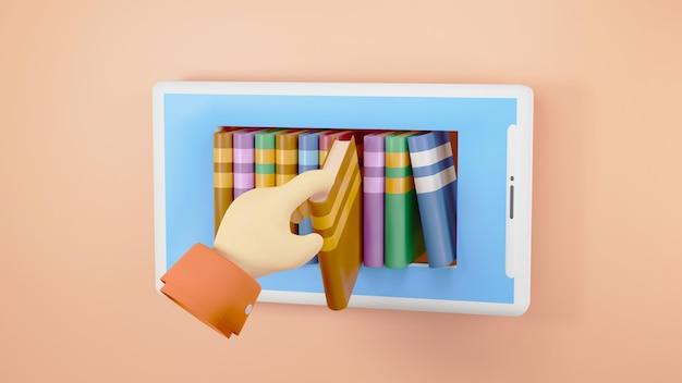Digitale online-bildung. 3d von büchern und handy über das lernen am telefon, computer. soziales distanzkonzept. klassenzimmer online-internet-netzwerk.