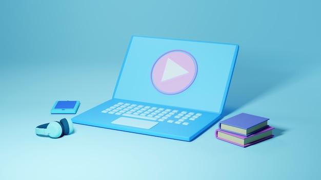 Digitale online-bildung. 3d von computer, handy, buchlernen am telefon, hintergrund der mobilen website