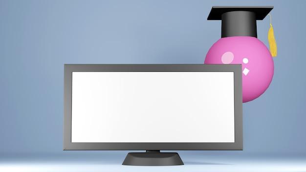 Digitale online-bildung. 3d von hut, monitor über das lernen am telefon, computer. soziales distanzkonzept. klassenzimmer online-internet-netzwerk.