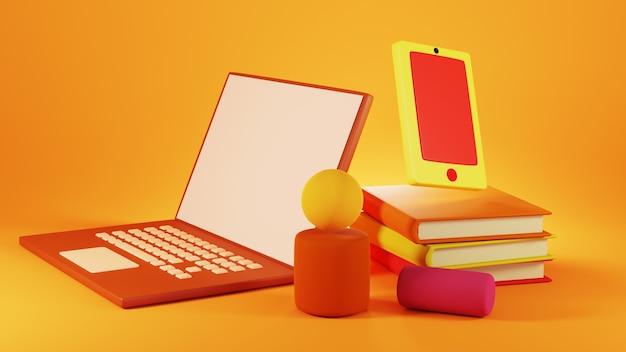 Digitale online-bildung. 3d von notebook und handy über das lernen am telefon.