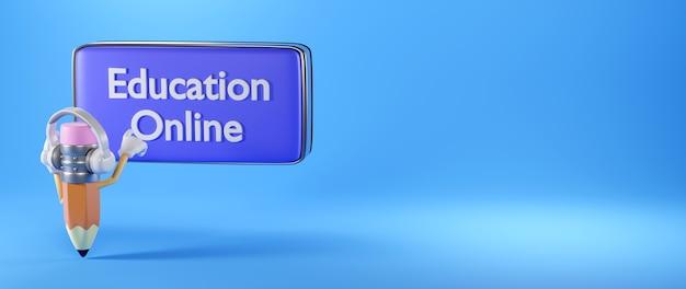 Digitale online-bildung. 3d-wiedergabe eines bleistifts klicken sie auf symbol auf blauer wand.