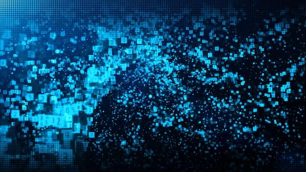 Digitale partikel der abstrakten blauen farbe bewegen mit staub und zahlhintergrund wellenartig