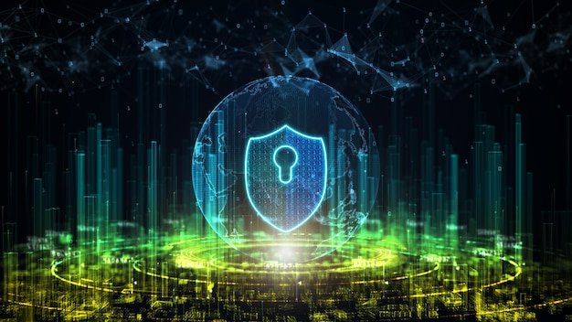 Digitale stadt der cybersicherheit. schutz digitaler datennetzwerke