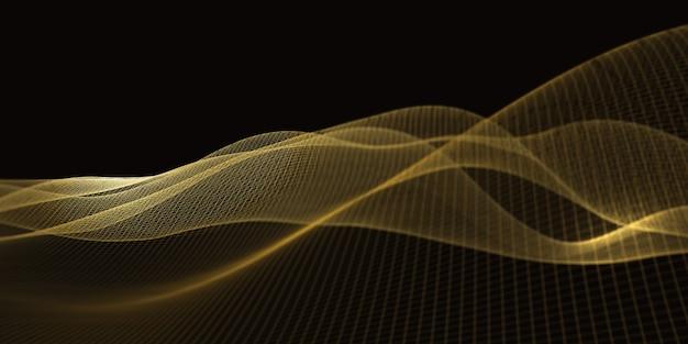 Digitale strukturkurven das netz des zukünftigen geometrischen technologie-rasters fokusentfernung in lichtemittierenden punkten