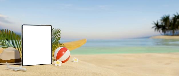 Digitale tablette des 3d-rendering-modells auf sand am schönen strandhintergrund 3d-illustration und kopierraum