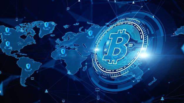 Digitale verschlüsselung der bitcoin-blockchain-kryptowährung, digitaler geldwechsel, technologie-netzwerkverbindungen