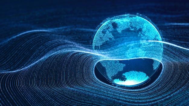 Digitale wolkenerde, die auf neon-datenkreisgitter in der teilchenwelle des cyberspace schwebt, abstrakte 3d-darstellung modernen futuristischen technologie-illustrationshintergrund, globale weltkonnektivität des digitalen zeitalters