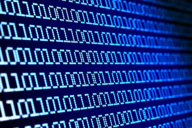 Digitaler binärcode auf blauem hintergrund. 3d-darstellung
