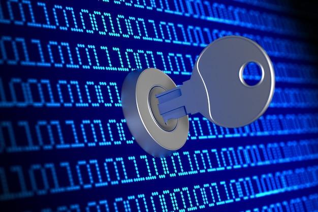 Digitaler binärcode mit schlüssel auf blauem hintergrund. 3d-darstellung