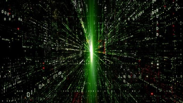 Digitaler cyberspace mit partikelhintergrund