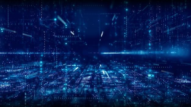 Digitaler cyberspace mit partikeln und digitalem datennetzverbindungskonzept