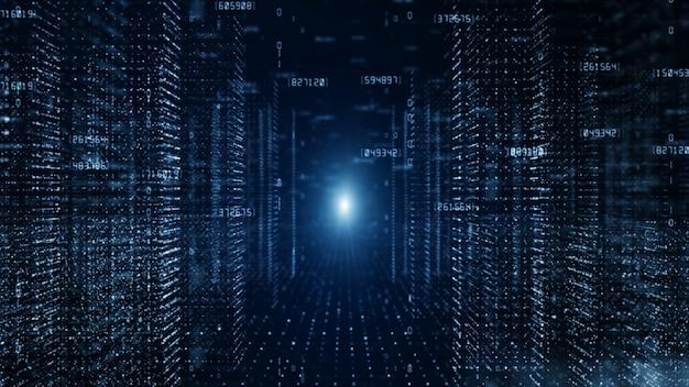 Digitaler cyberspace mit partikeln und digitalem datennetzwerkverbindungskonzept.