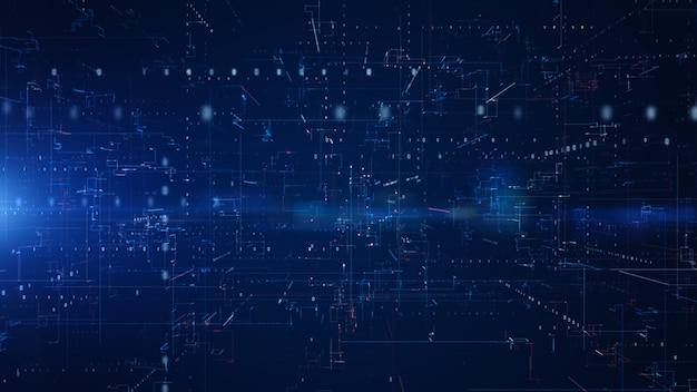 Digitaler cyberspace mit partikeln und digitalen datennetzverbindungen