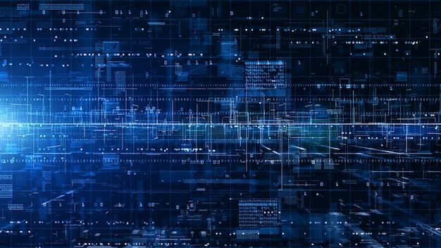 Digitaler cyberspace mit partikeln und digitalen datennetzverbindungen Premium Fotos