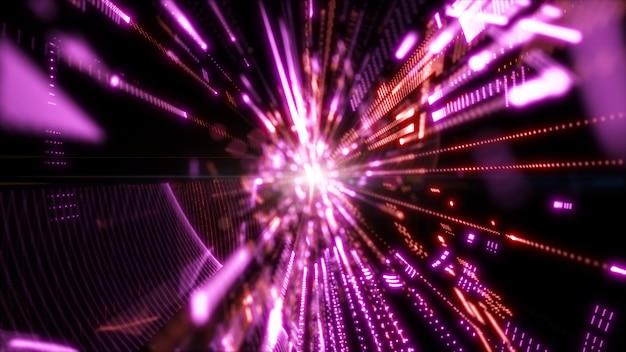 Digitaler cyberspace mit partikeln und technologie digitale netzwerkverbindungen. geometrische abstrakte hintergründe