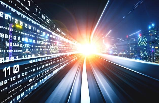 Digitaler datenfluss auf der straße mit bewegungsunschärfe für eine schnelle geschwindigkeitsübertragung