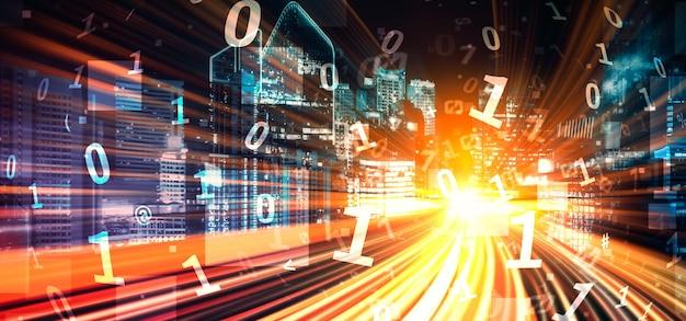 Digitaler datenfluss auf der straße mit bewegungsunschärfe, um eine schnelle übertragung zu ermöglichen