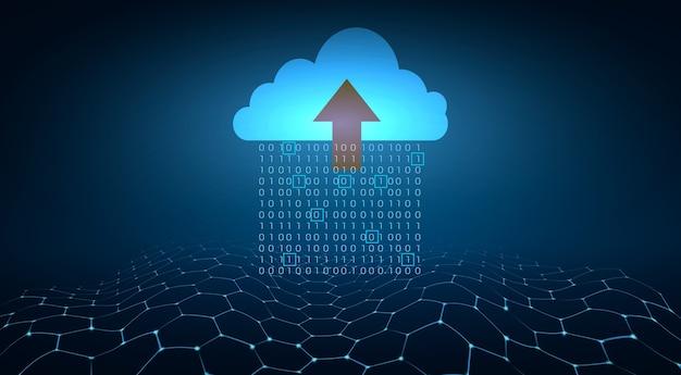 Digitaler datensatz von binärzahlen, die auf blauem hintergrund an die wolken gesendet werden.