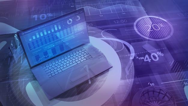 Digitaler geschäftshintergrund mit laptop und big data