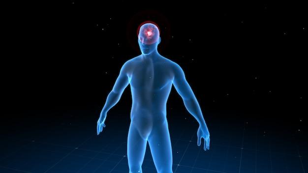 Digitaler menschlicher körper mit sichtbaren schmerzen an verschiedenen stellen