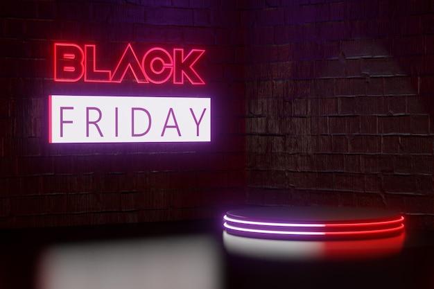 Digitaler produkthintergrund. blockieren sie freitagslichttext und schwarzes podium mit led-licht reflektiert auf dunkelrotem ziegelsteinhintergrund. 3d-darstellungs-rendering.
