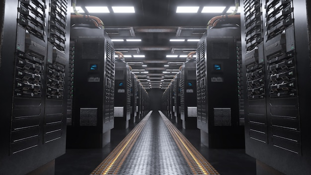Digitaler server in einem grunge-raum
