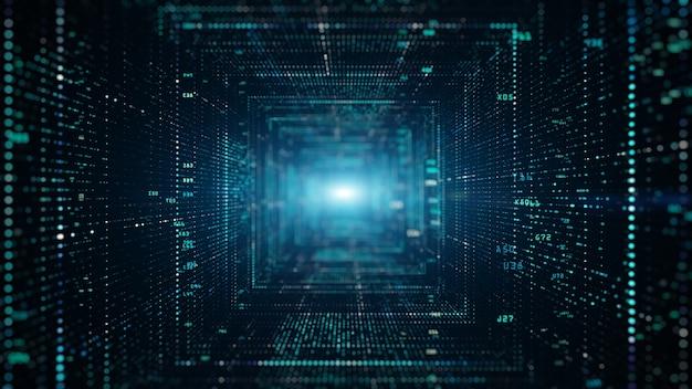 Digitaler tunnel des cyberspace mit partikeln und digitalen daten