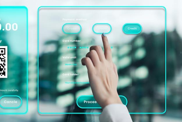 Digitales banking auf einem transparenten bildschirm