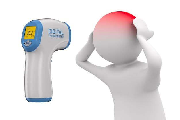 Digitales berührungsloses infrarot-thermometer und patient auf weißem hintergrund. isolierte 3d-illustration
