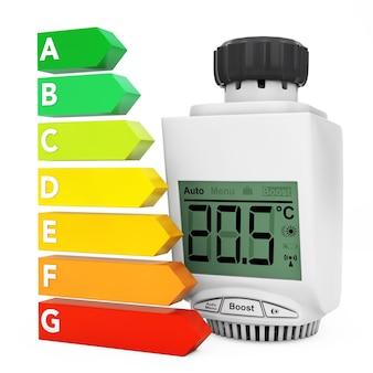 Digitales drahtloses heizkörper-thermostatventil in der nähe der energieeffizienz-bewertungstabelle auf weißem hintergrund. 3d-rendering.