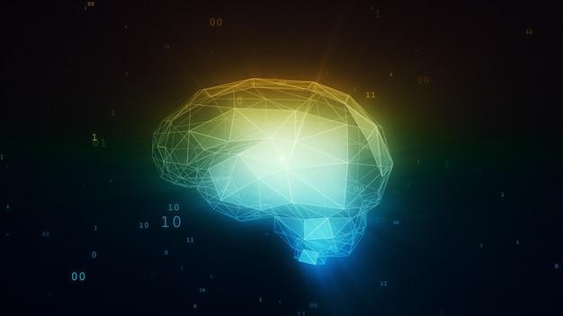 Digitales gehirn der künstlichen intelligenz in der wolke der binärdaten