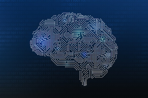 Digitales gehirn für technologie-ki-konzept