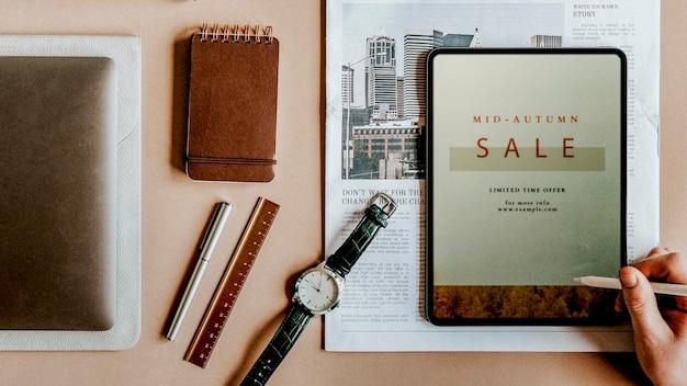 Digitales gerät mit täglichem essential set
