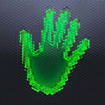 Digitales handabdruckkonzept. menschliche handspur auf der matrix.