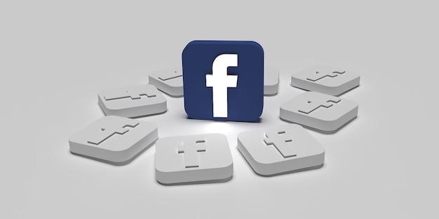 Digitales marketingkampagnenkonzept 3d facebook mit weißer oberfläche gerendert