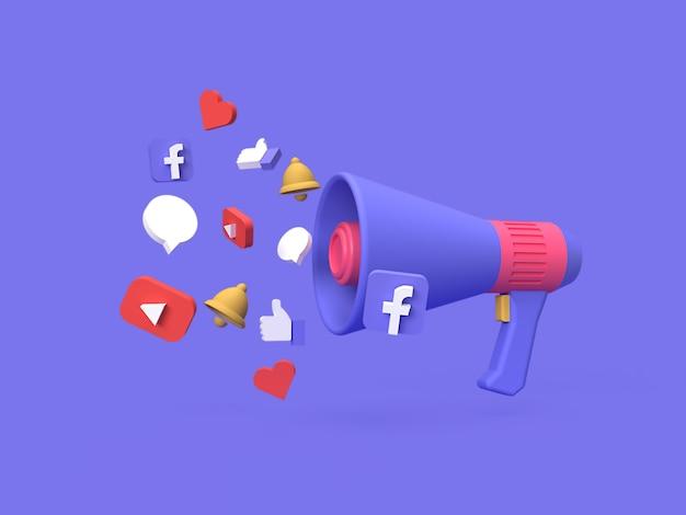Digitales marketingkampagnenkonzept der sozialen medien 3d mit blauem hintergrund gerendert