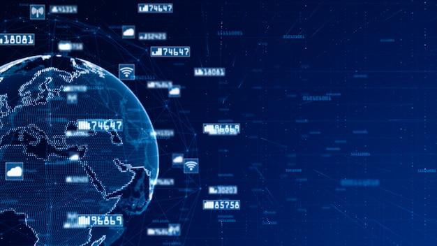Digitales netzwerk daten- und kommunikationsnetz. world originalquelle aus der nasa