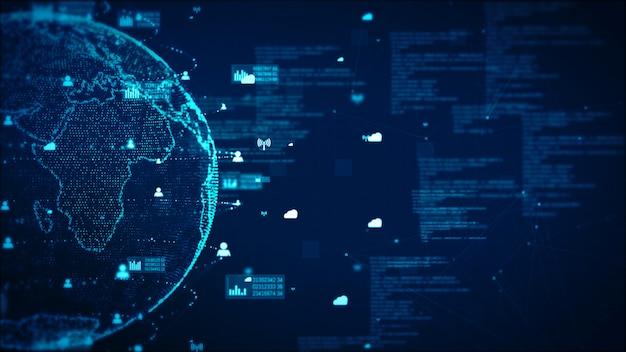 Digitaltechnik-netzwerk-daten-und kommunikations-konzept-zusammenfassungs-hintergrund. von der nasa eingerichtetes erdelement